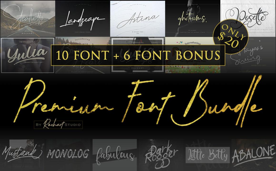 Premium Font Bundle 2018 10 Fonts Included Bonus By Rochart