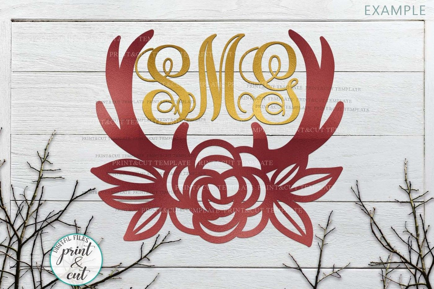 Floral Deer Antlers Laser Cut Papercutting Template Svg Dxf Pdf By