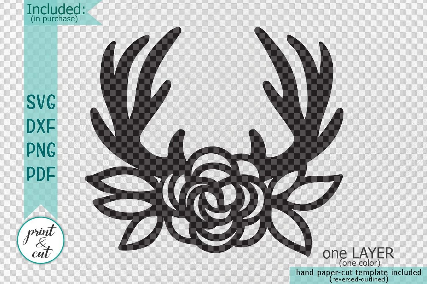 Deer Antlers With Flowers Boho Style Machine Cut File Laser Paper