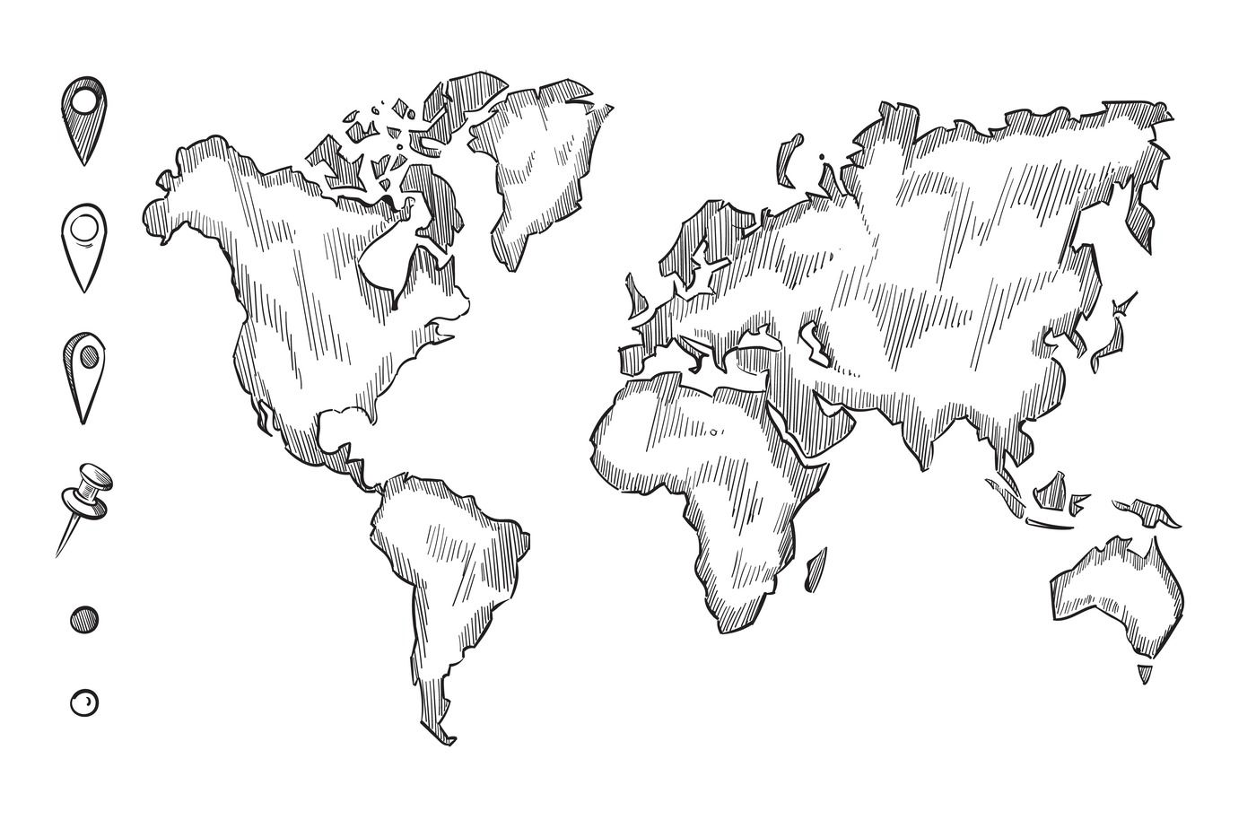 Hand Drawn Rough Sketch World Map With Doodle Pins By Microvector