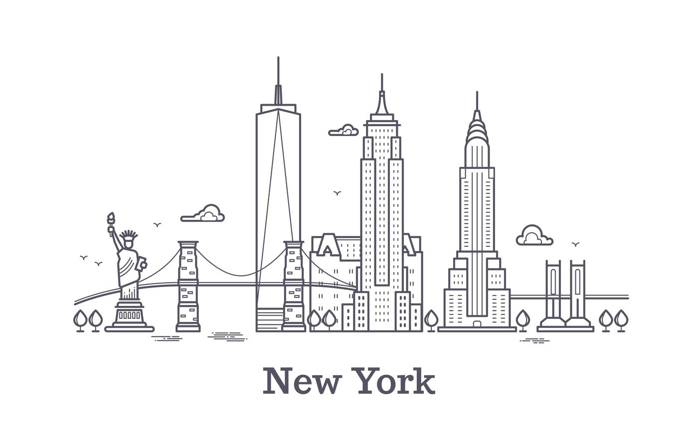 New York City Outline Skyline Nyc Line Silhouette Usa Tourist