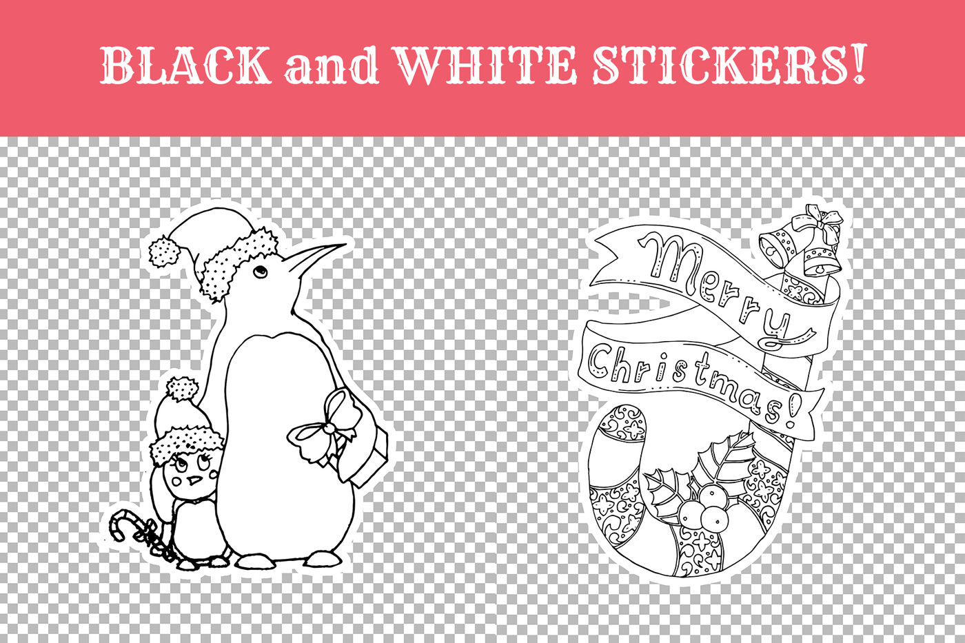Christmas Coloring White Stickers Svg By Ilonitta
