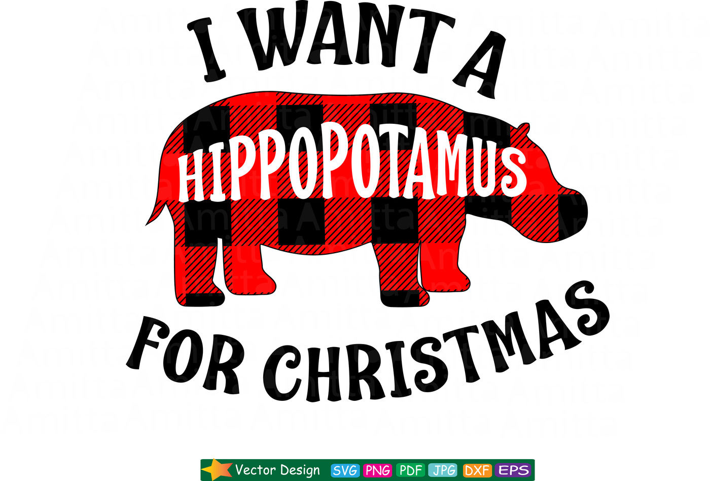 I Want A Hippopotamus For Christmas Svg By Amittaart