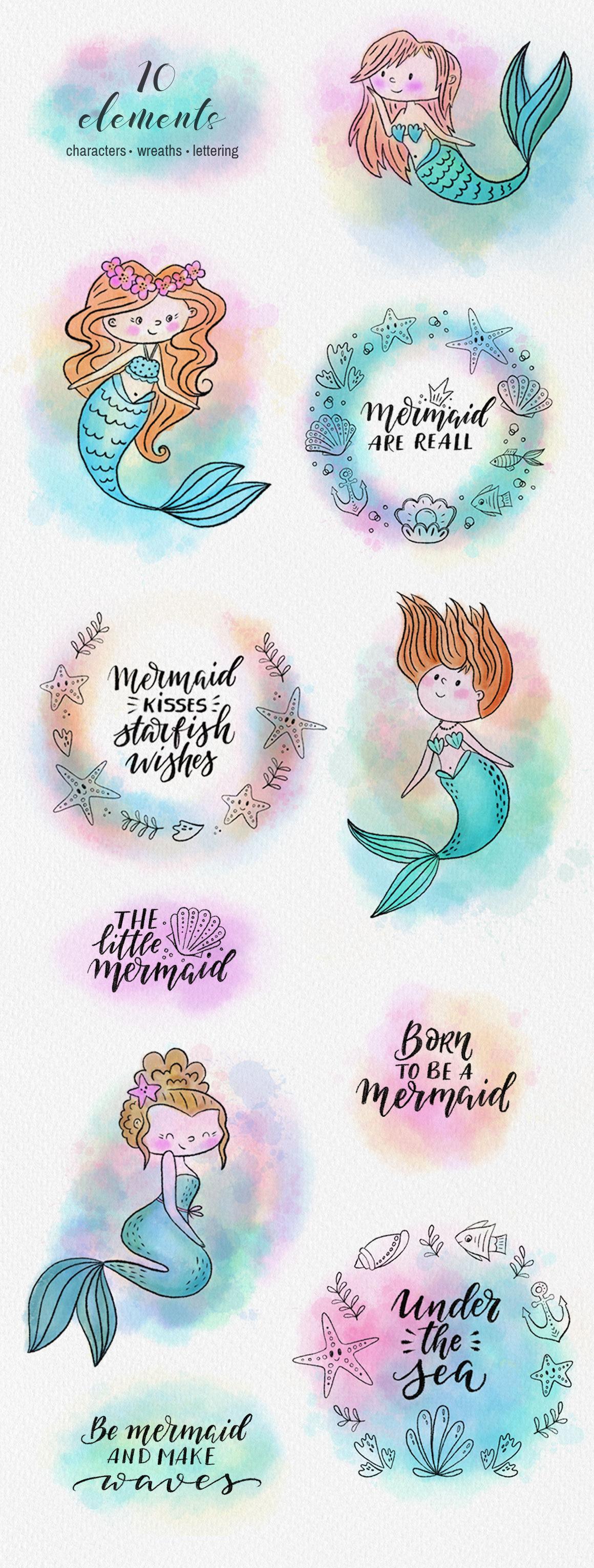 Mermaids Watercolor Collection By Darismartart Thehungryjpeg Com