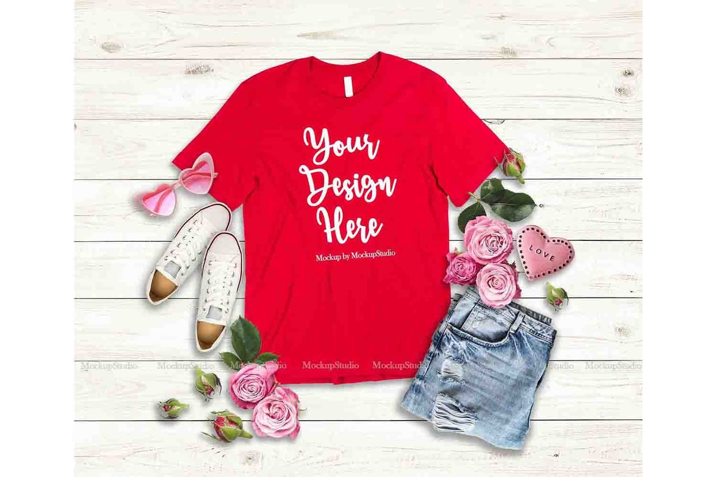 Red Valentine S Day Women T Shirt Mock Up Flat Lay Display By
