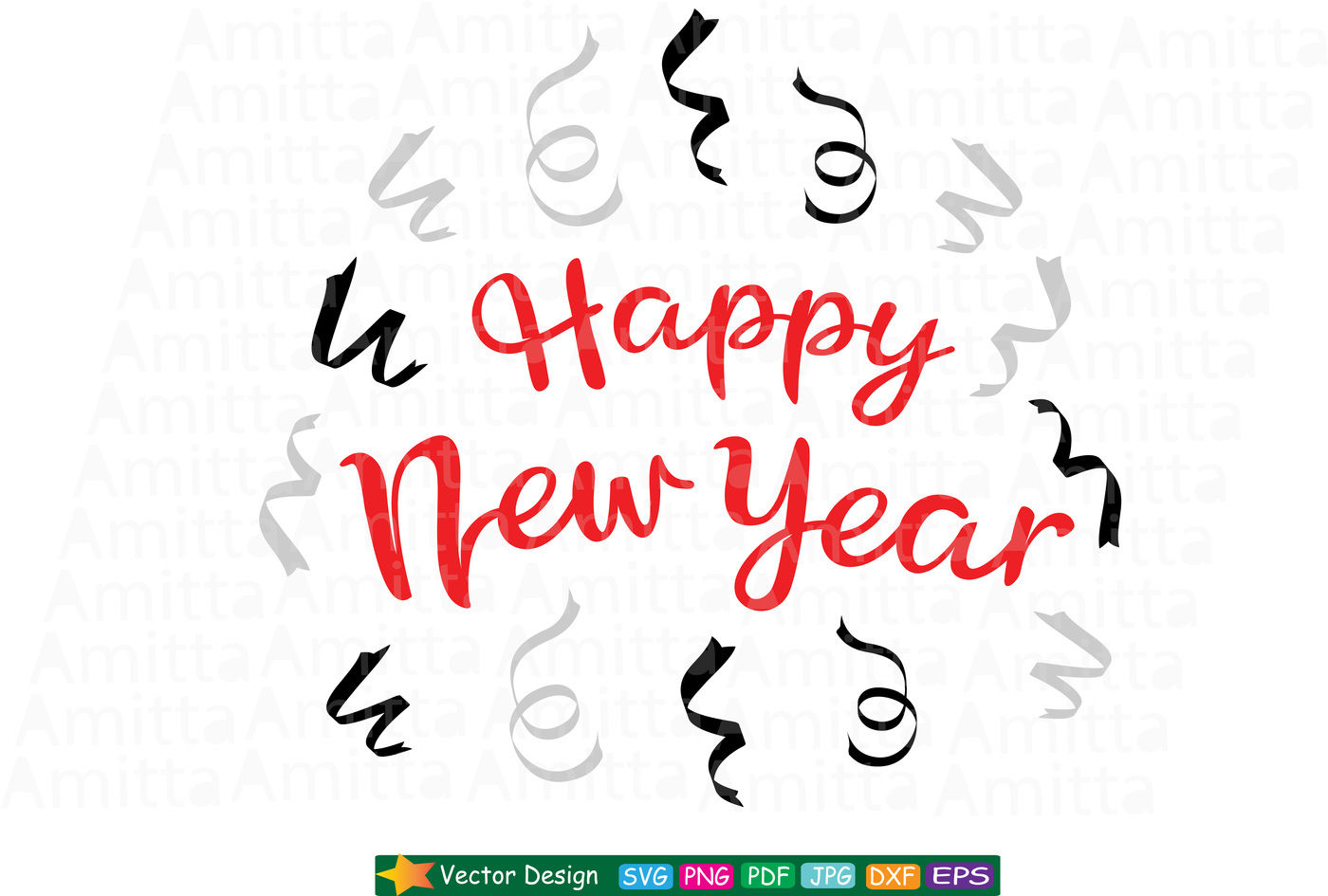 Happy New Year Svg Cut File By Amittaart Thehungryjpeg Com