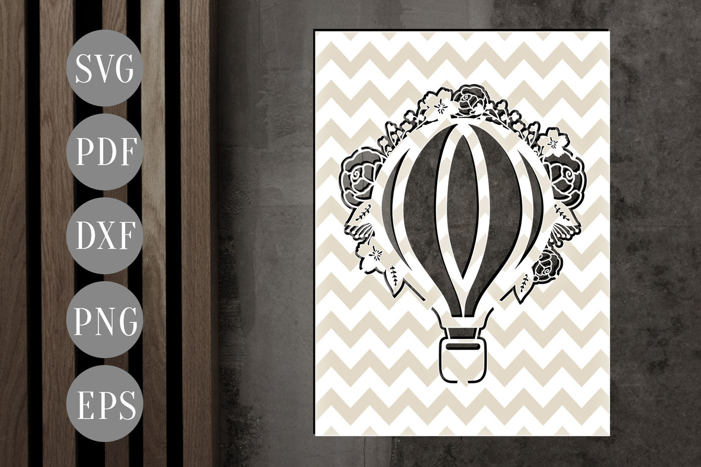 Hot Air Balloon Papercut Template Floral Wedding Decor Svg Dxf