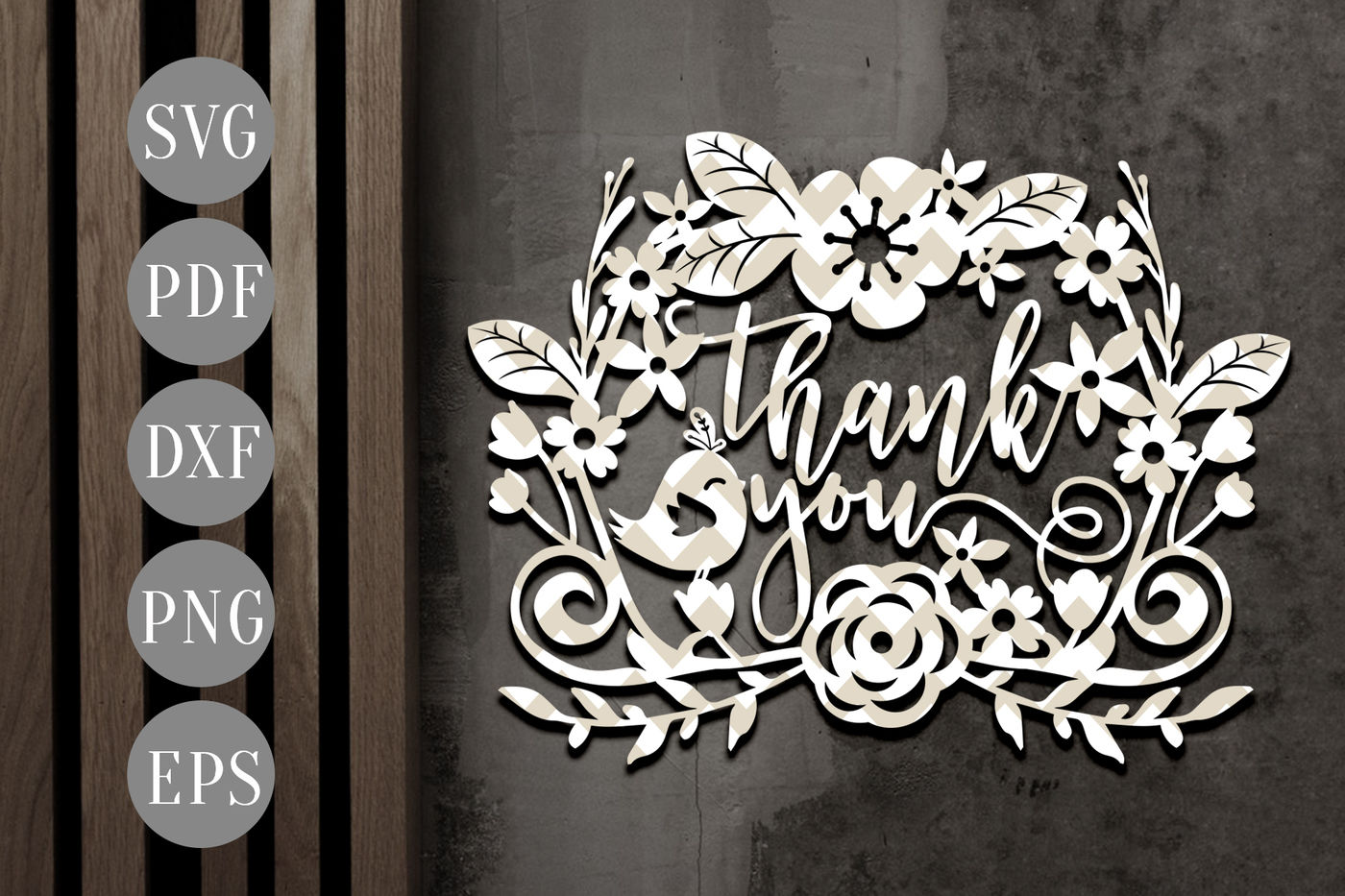 Thank You Wreath Svg Papercut Template House Cutting File Dxf