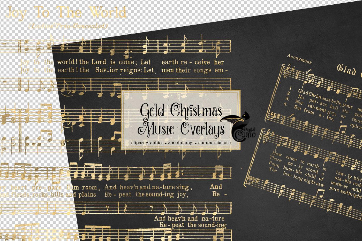 Gold Christmas Music Overlays By Digital Curio Thehungryjpeg Com