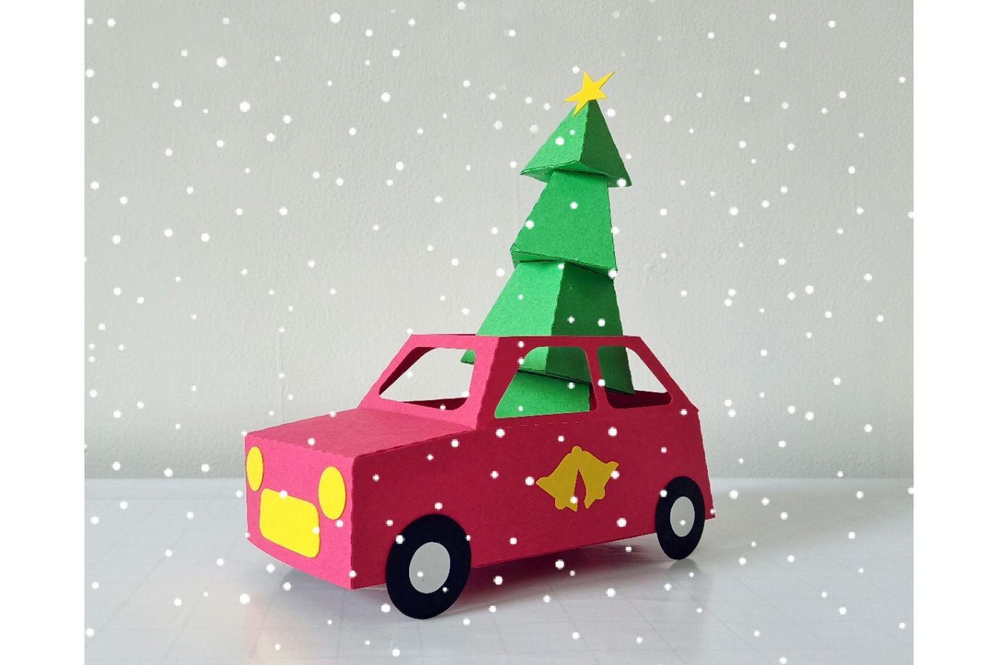 Diy Christmas Car 3d Papercraft By Paper Amaze Thehungryjpeg Com