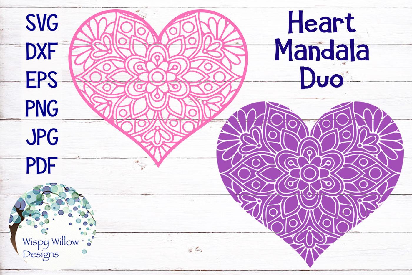 Heart Mandala Duo Bundle Valentine S Day By Wispy Willow Designs