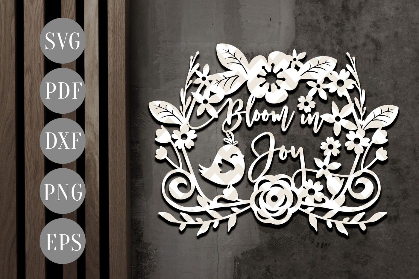 Bloom In Joy Papercut Template Spring Clip Art Svg Dxf Pdf By