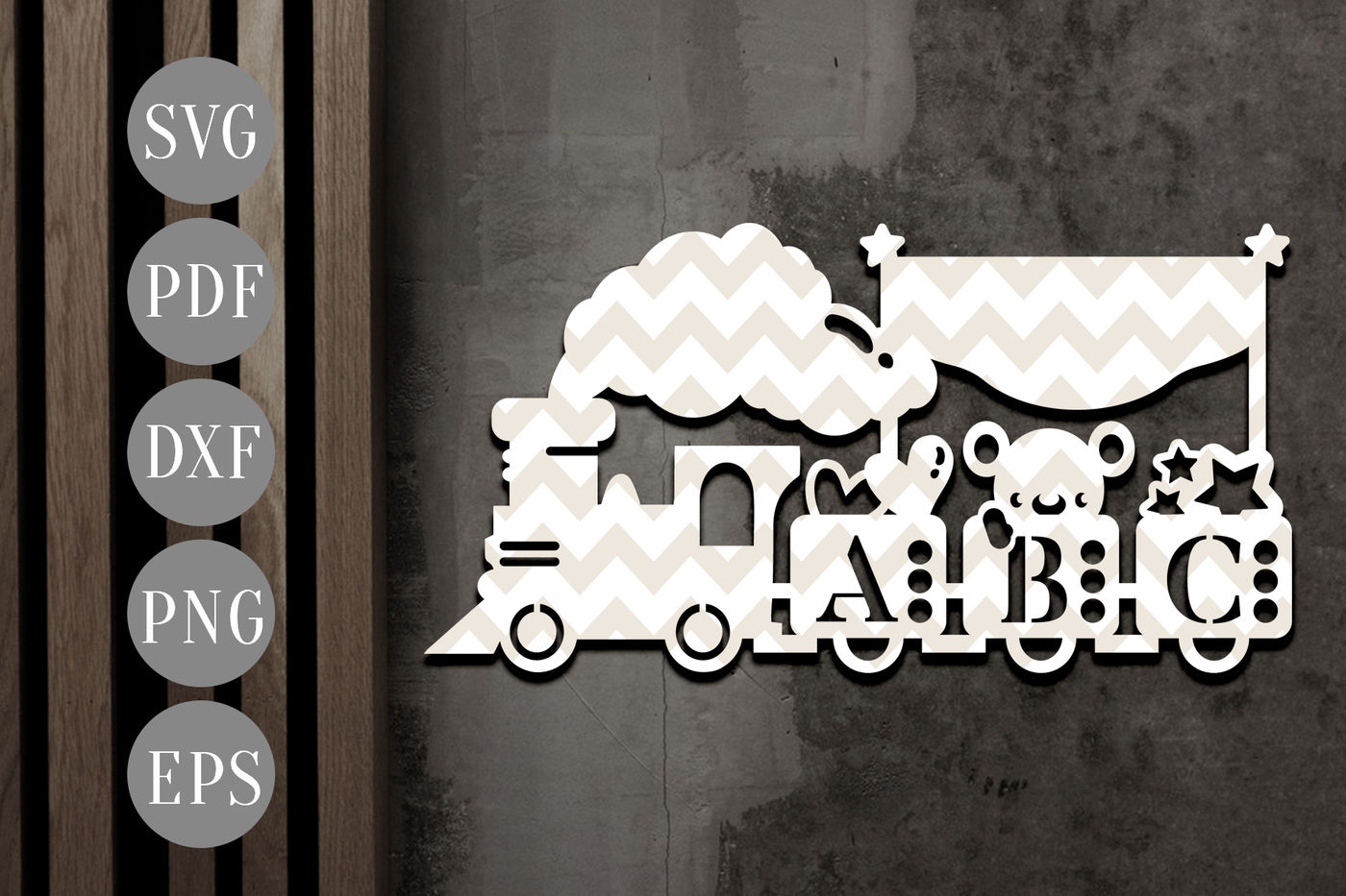Nursery Toy Train Banner Papercut Template Abc Clipart Svg Dxf