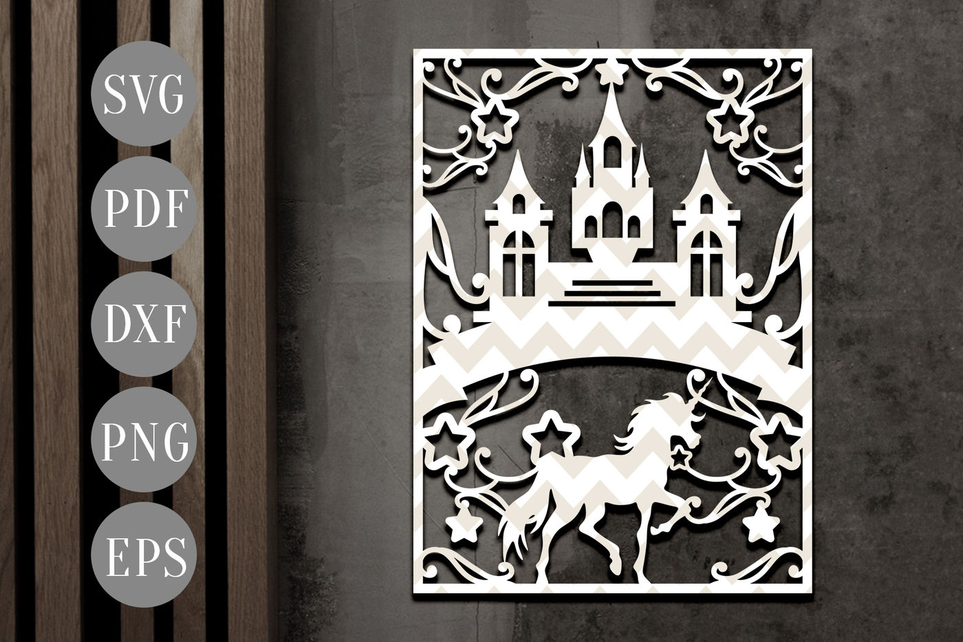 Unicorn Papercut Template Fantasy Castle Clipart Svg Dxf Pdf By