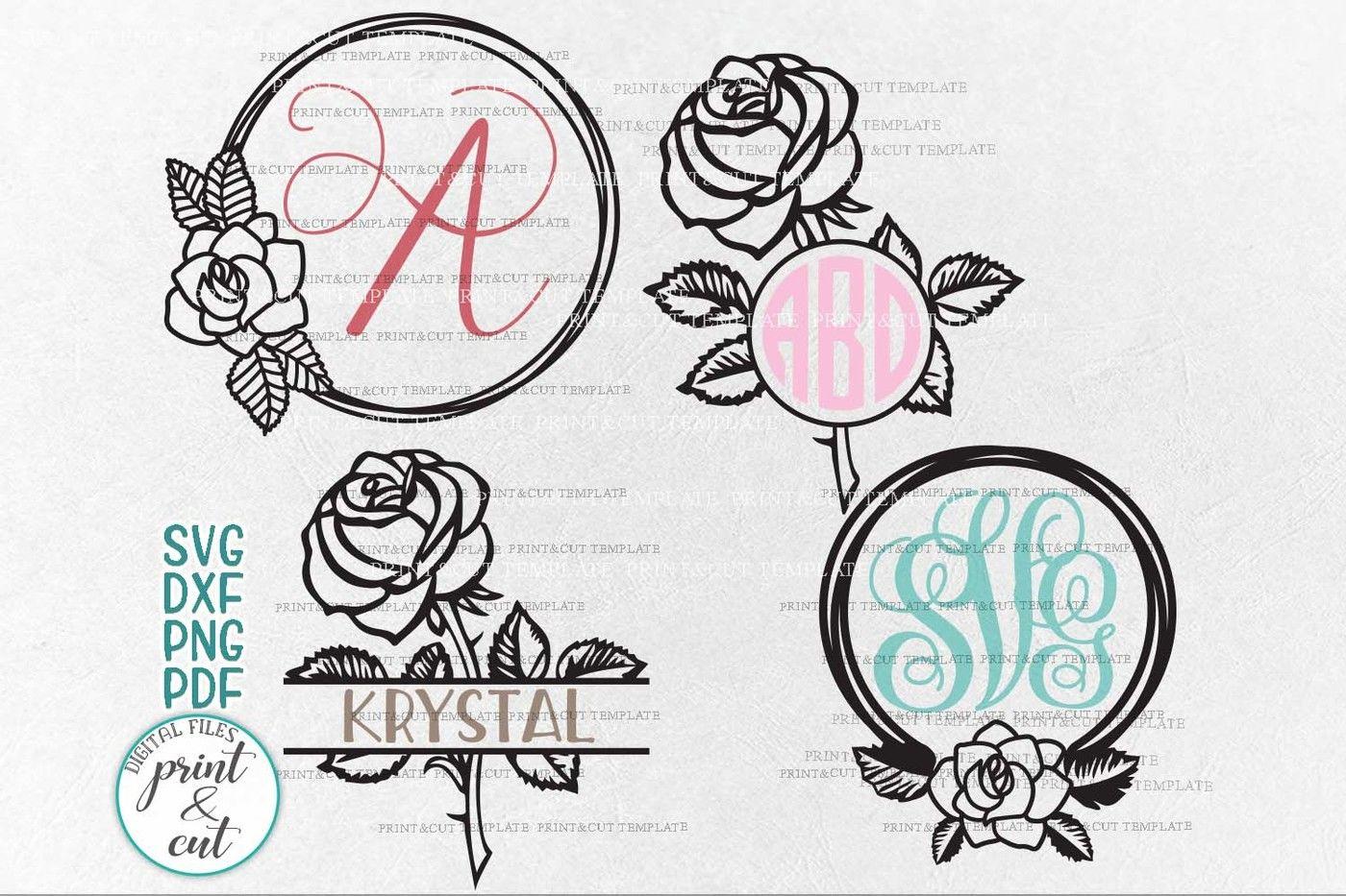 Rose wreath monogram Bundle laser machine cut bundle svg dxf files