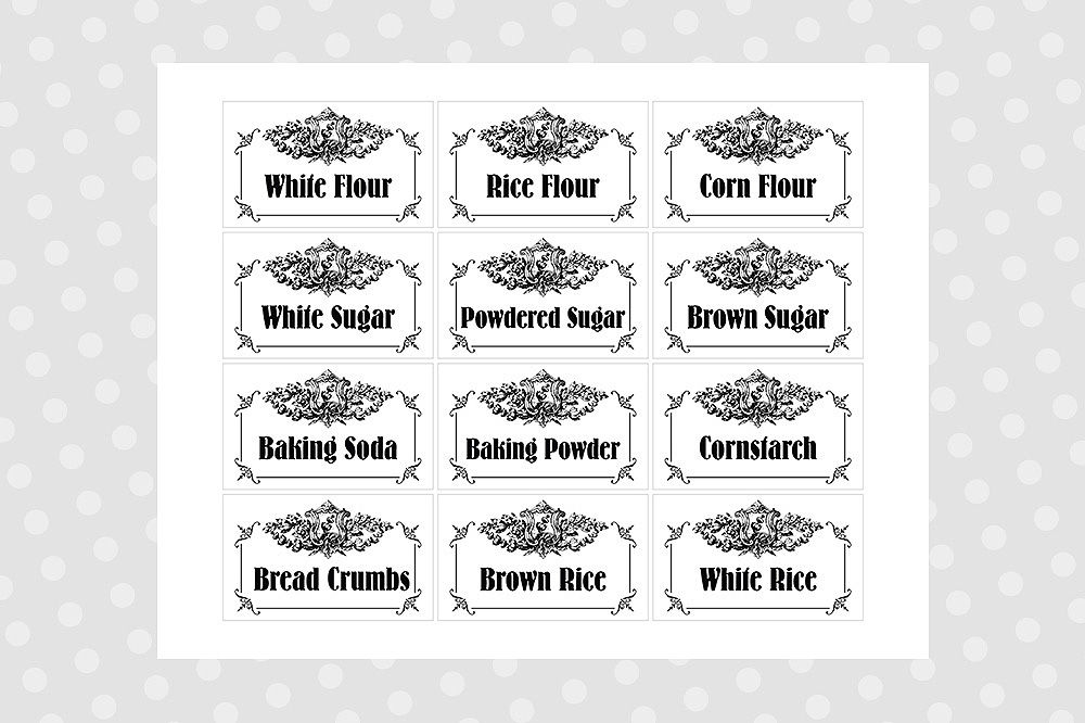 photo regarding Printable Pantry Labels called Black White Printable Pantry Labels - Typical By way of