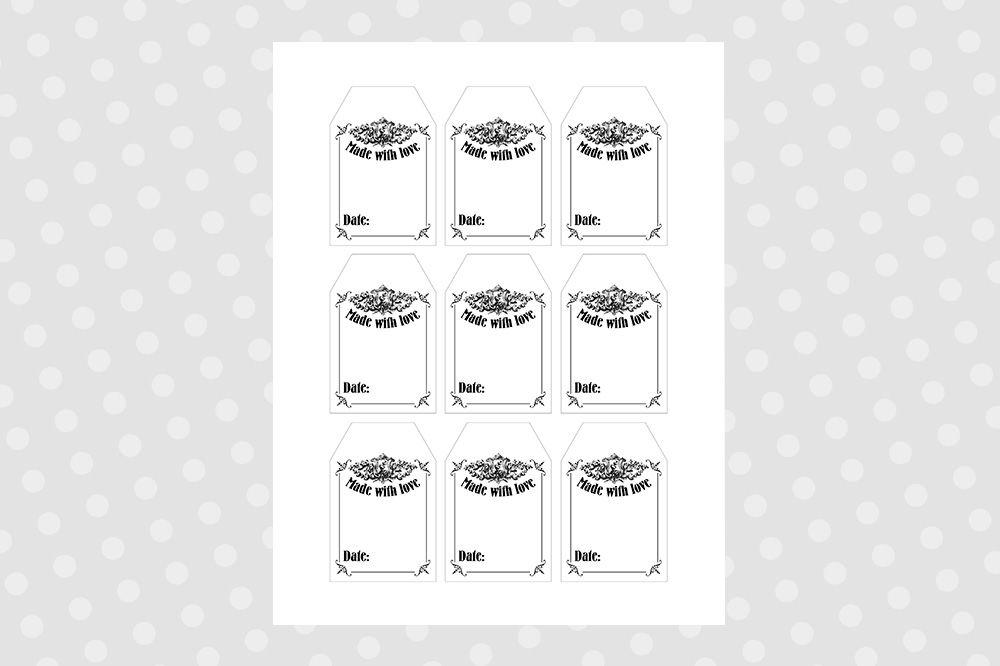 photograph regarding Printable Mason Jar Tags titled Black White Printable Mason Jar Tags - Traditional Through