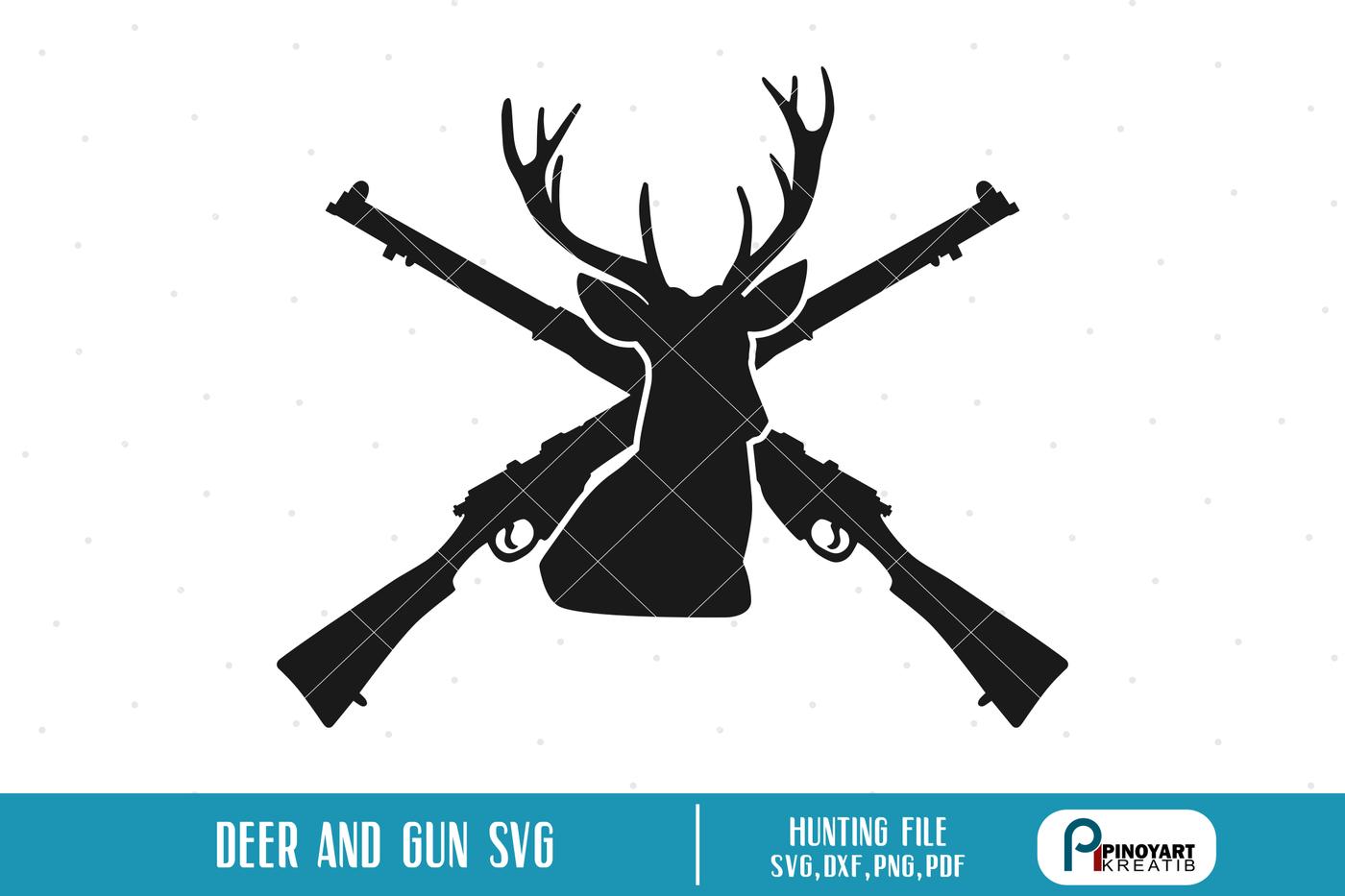 Deer And Cross Rifle Svg Deer Svg Deer Hunting Svg Rifle Svg