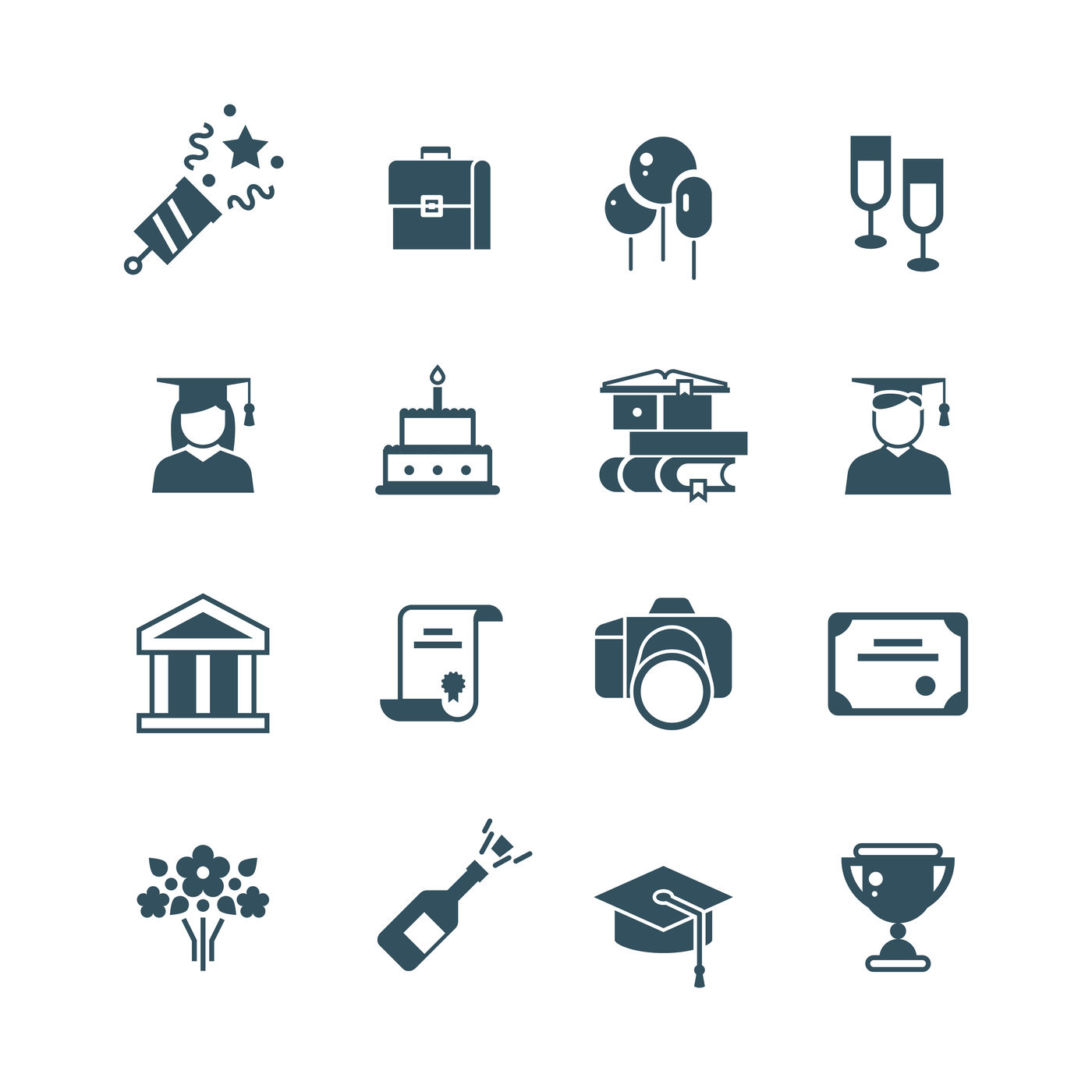 Student Achievement And High School Graduation Vector Icons By