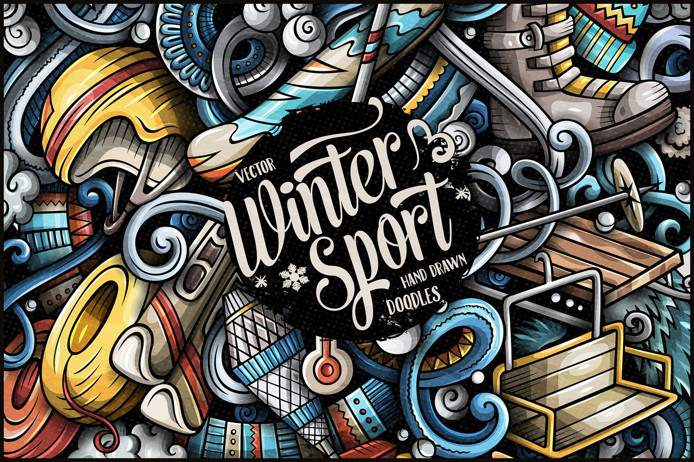 Sport Wallpaper Doodle: Winter Sports Vector Doodle Illustration By Balabolka
