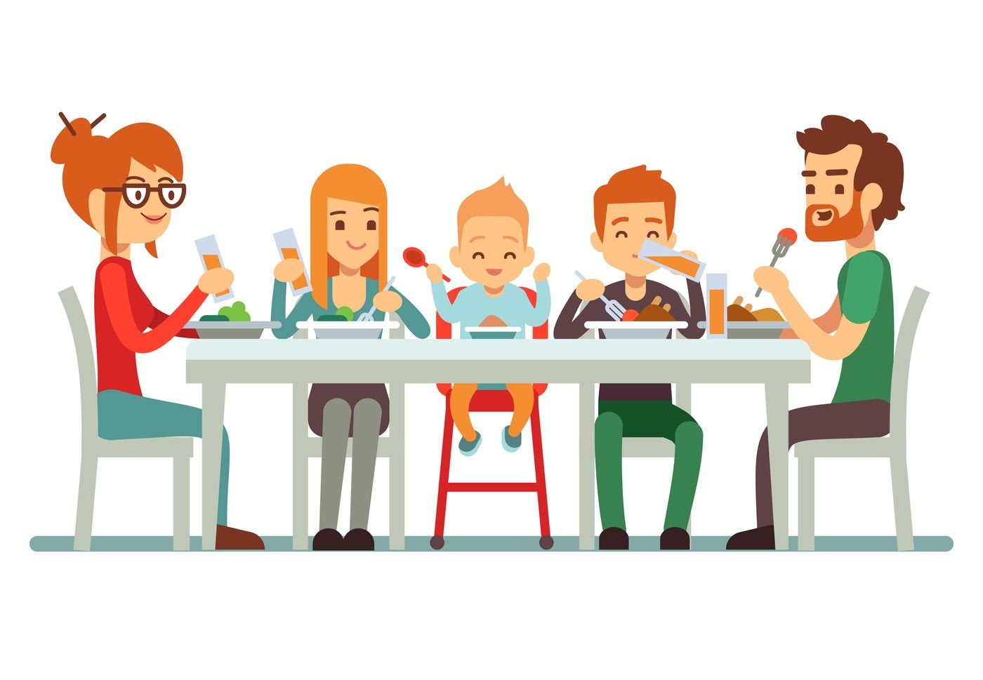 Happy Big Family Eating Dinner Together Vector Illustration By