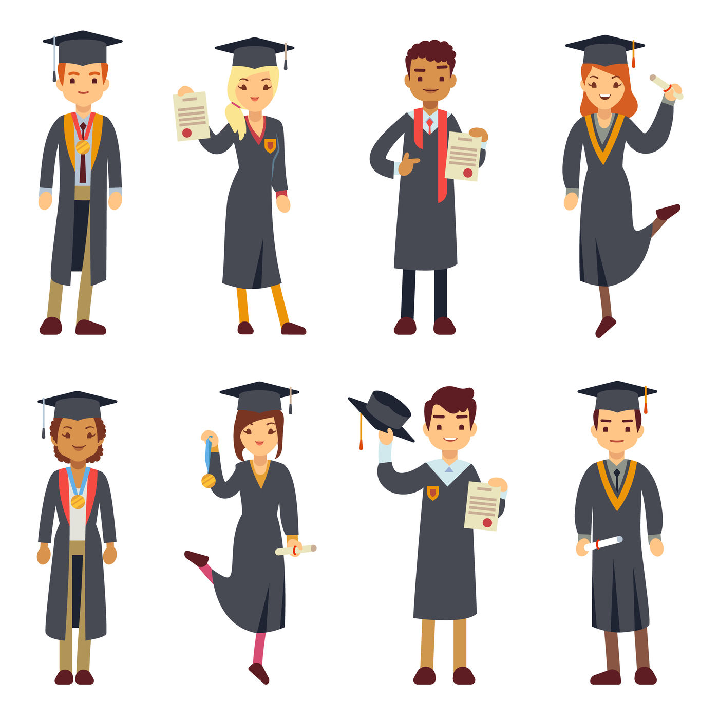 Young College Graduate And University Students Vector Characters