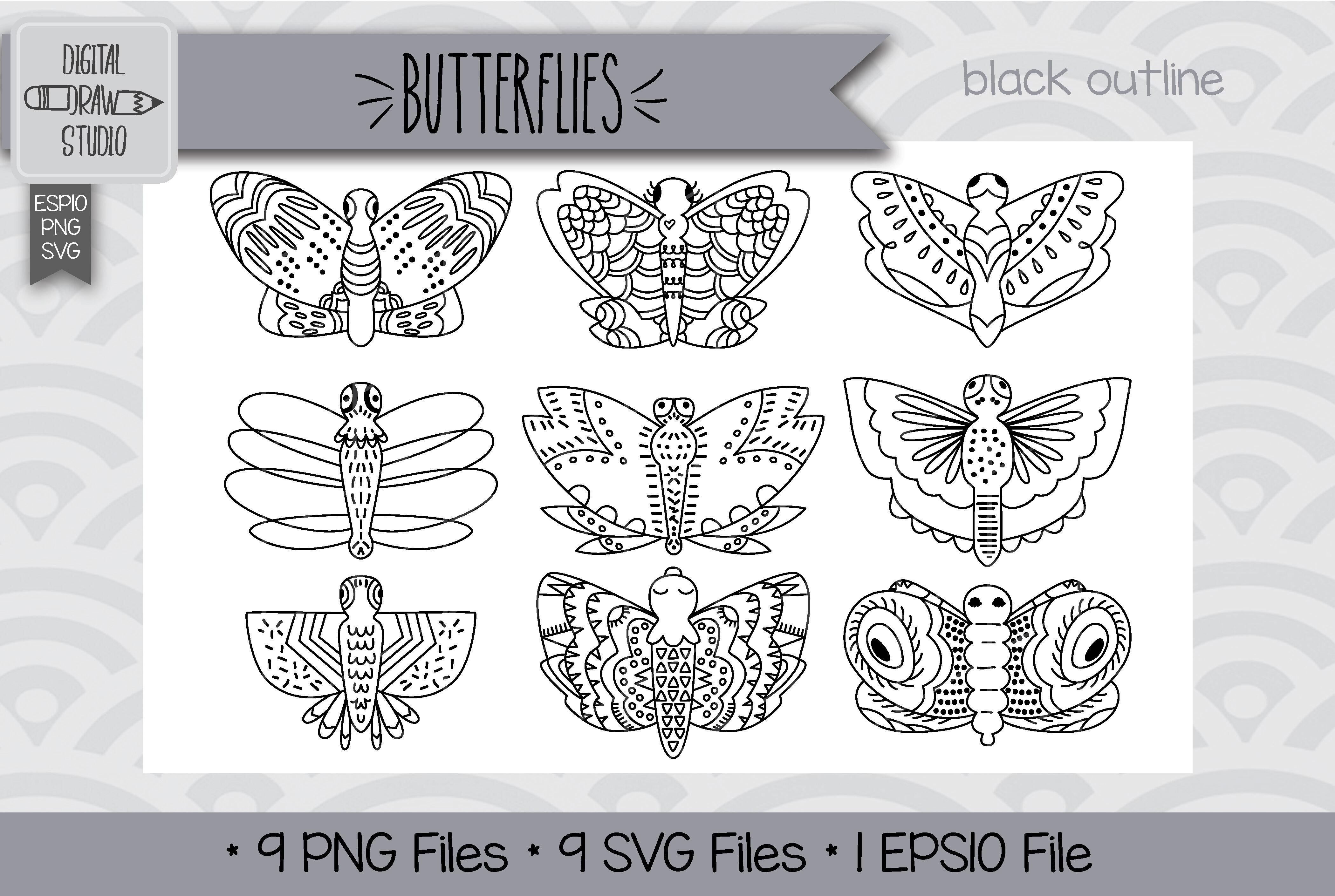 72 Hand Drawn Butterflies Clip Art Moth Insect Bugs