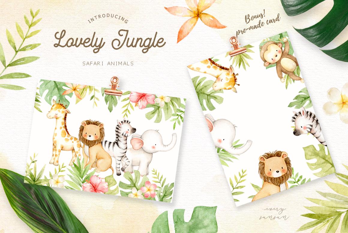 Lovely Jungle Safari Animals Clipart By everysunsun ...