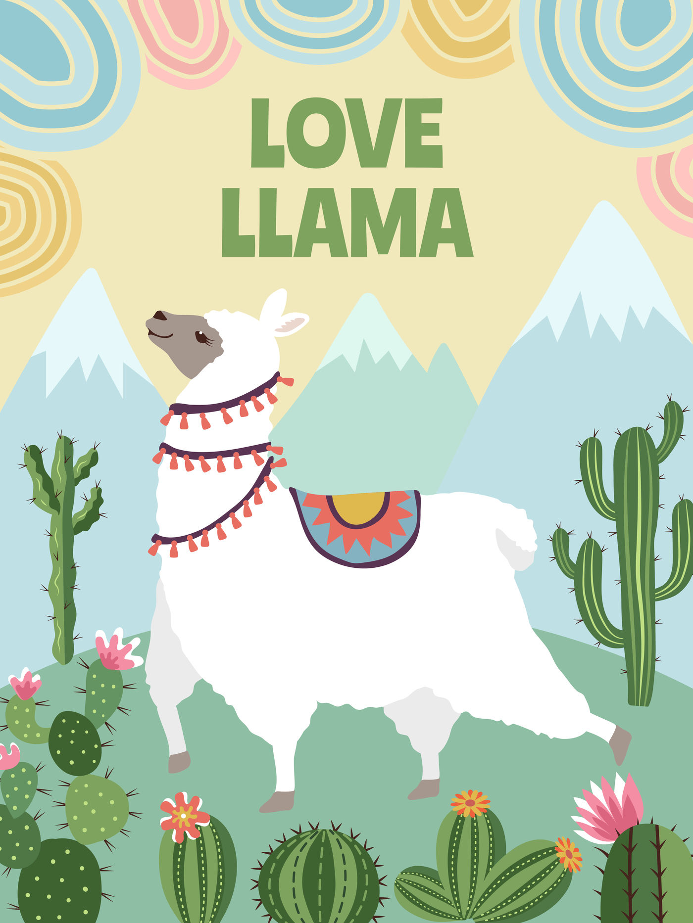 Background vector picture of llama, mountains and cactus