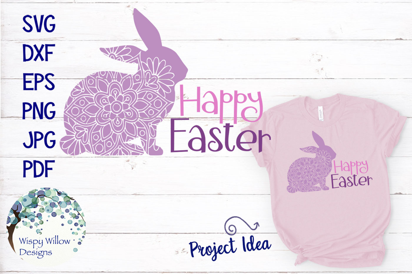 Happy Easter Mandala Rabbit Svg By Wispy Willow Designs