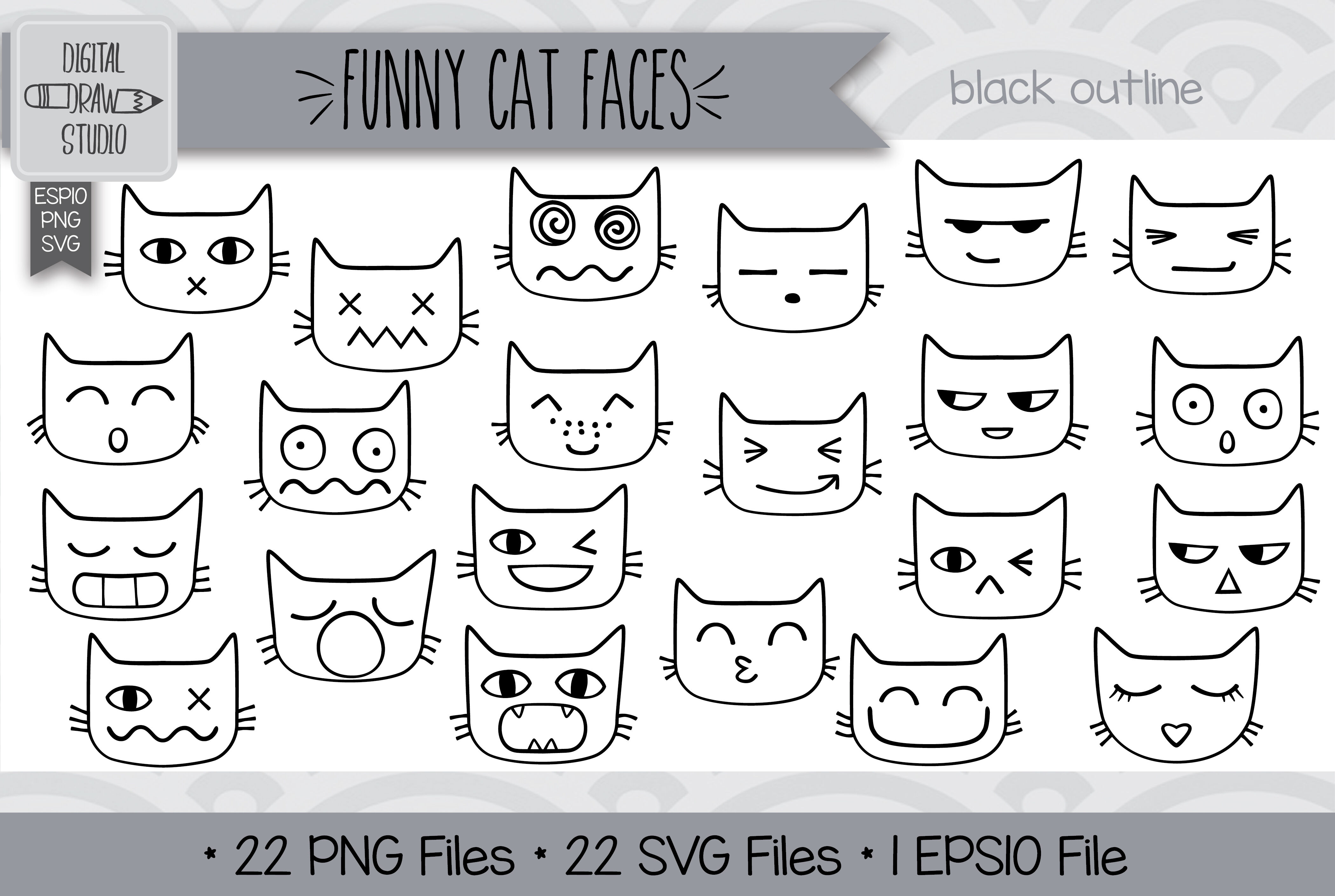 264 Funny Cat Faces Clip Art Hand Drawn Kawaii Cat Doodles By