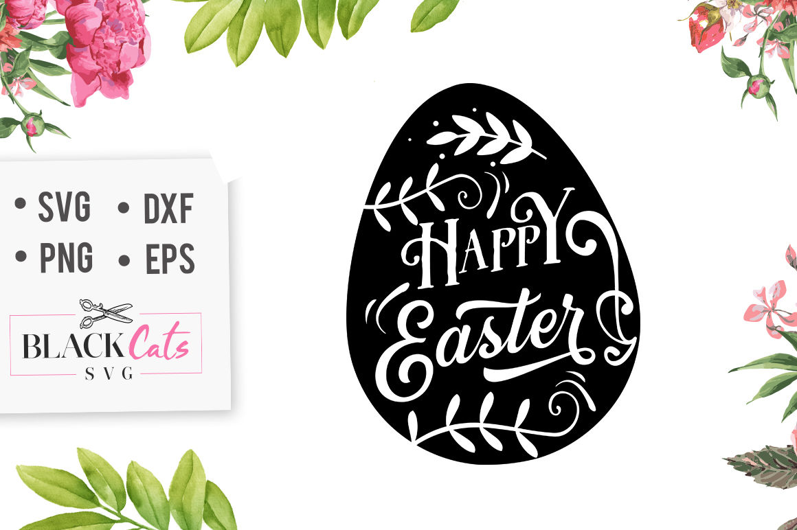 Happy Easter Egg Svg By Blackcatssvg Thehungryjpeg Com