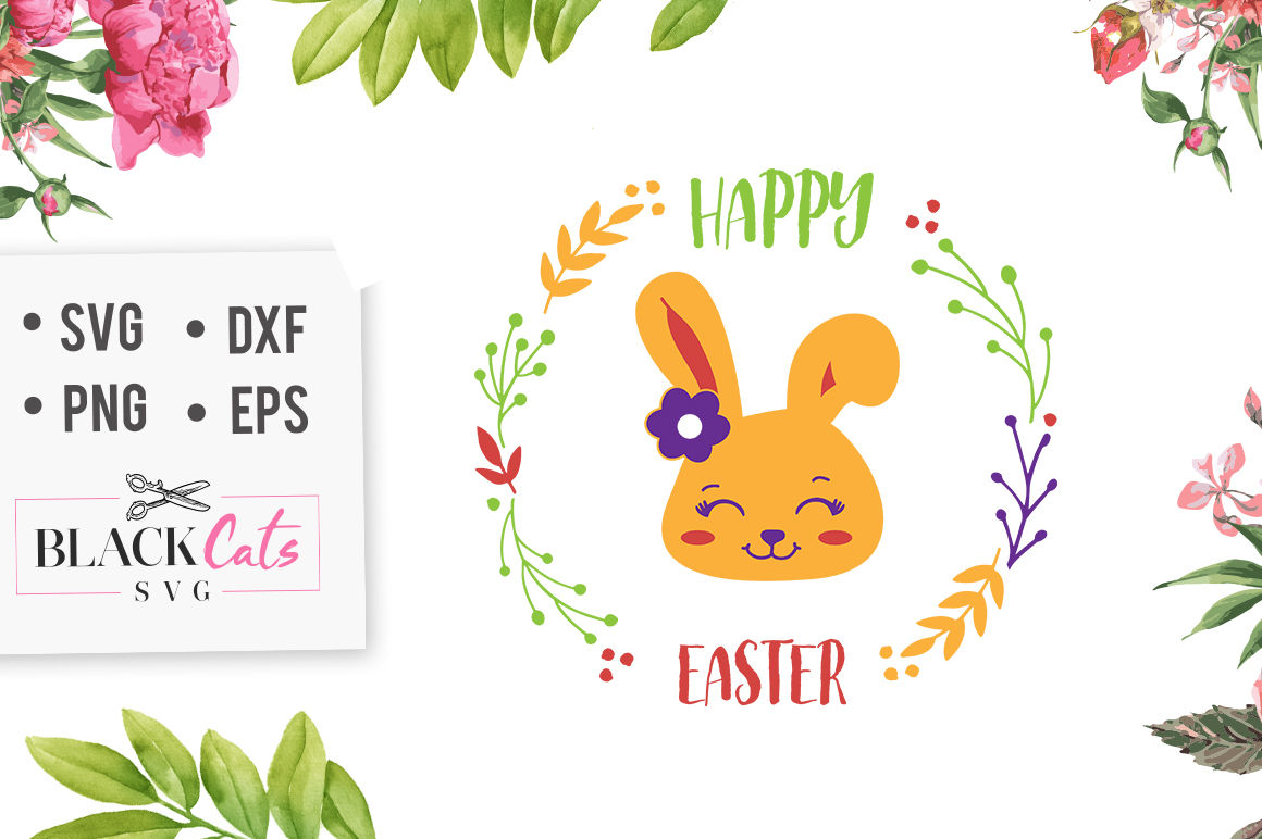 Happy Easter Svg By Blackcatssvg Thehungryjpeg Com