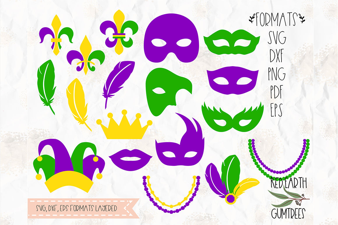 Mardi Gras Bundle Mask Feathers In Svg Dxf Png Eps Pdf Formats