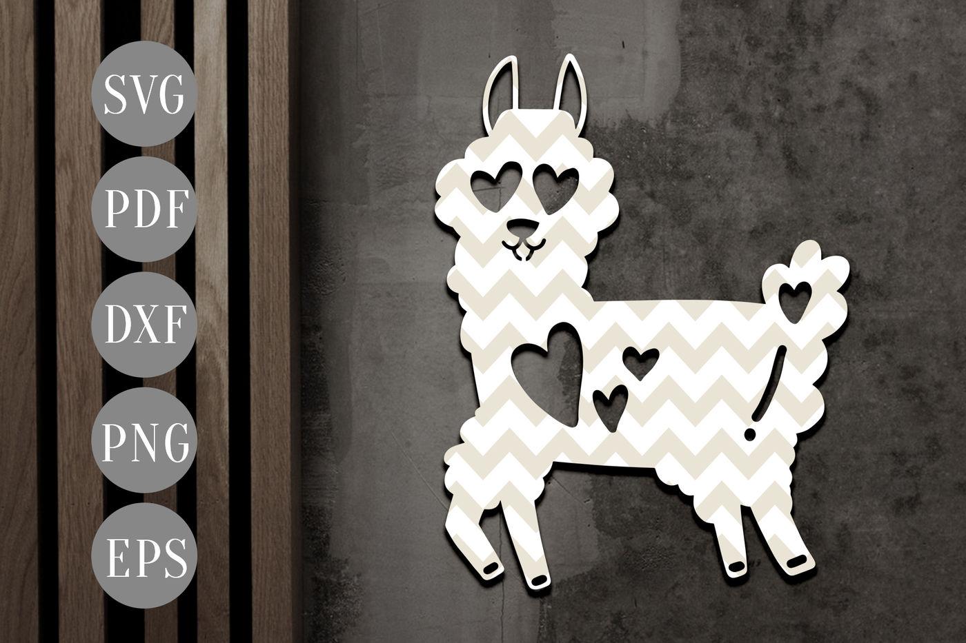 Funny Llama Papercut Template Valentine Alpaca Clipart Svg