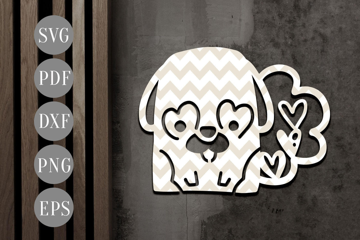 Cute Pug Papercut Template Valentine S Day Key Chain Svg Dxf