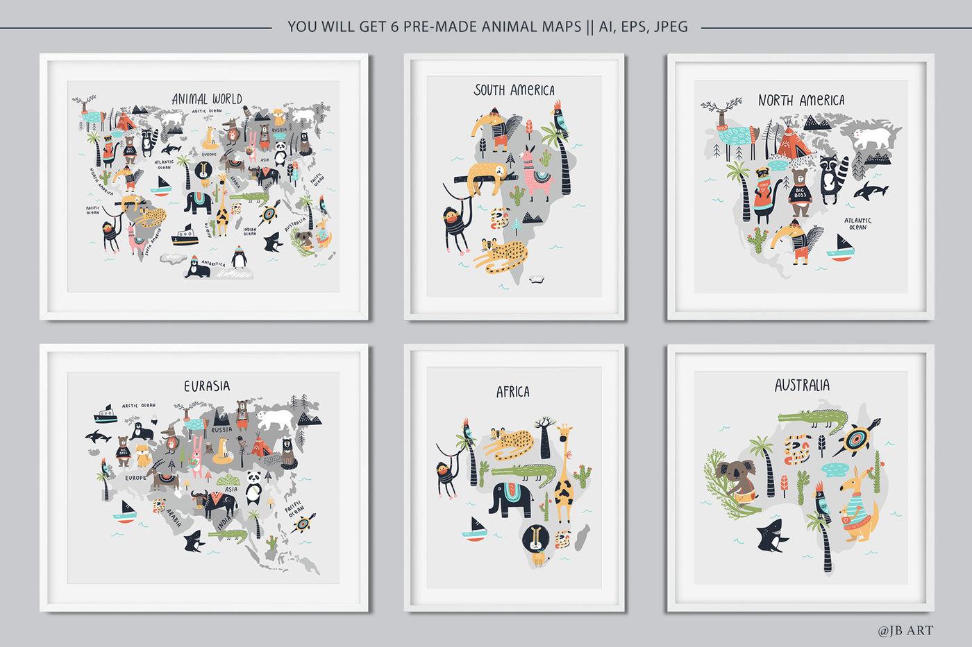 Animal World Map Creator By Oksana Stepova Thehungryjpeg Com