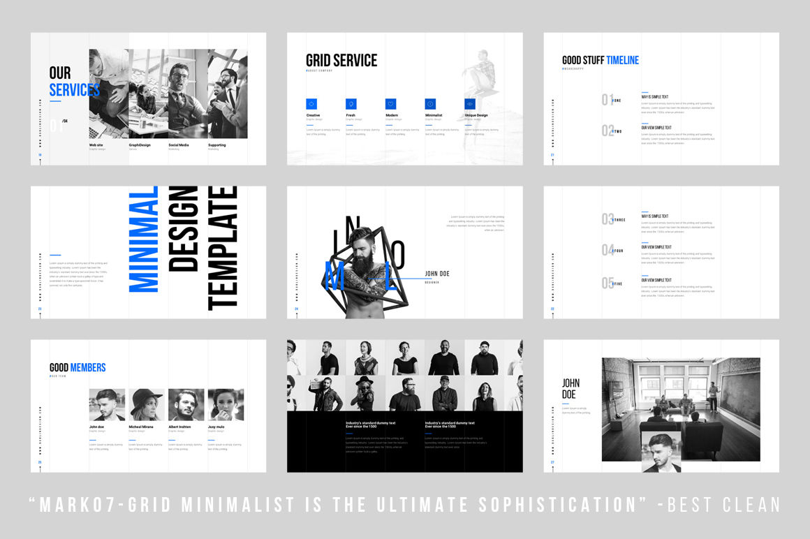 Grids Minimal Powerpoint Template By Dublin Design