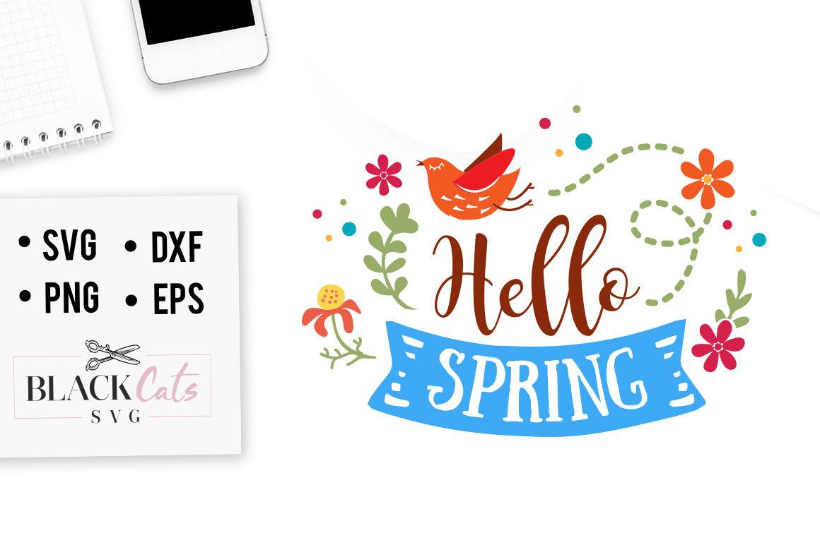 Hello Spring Svg By Blackcatssvg Thehungryjpeg Com