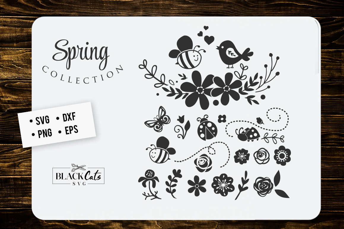 Spring Illustrations Svg By Blackcatssvg Thehungryjpeg Com