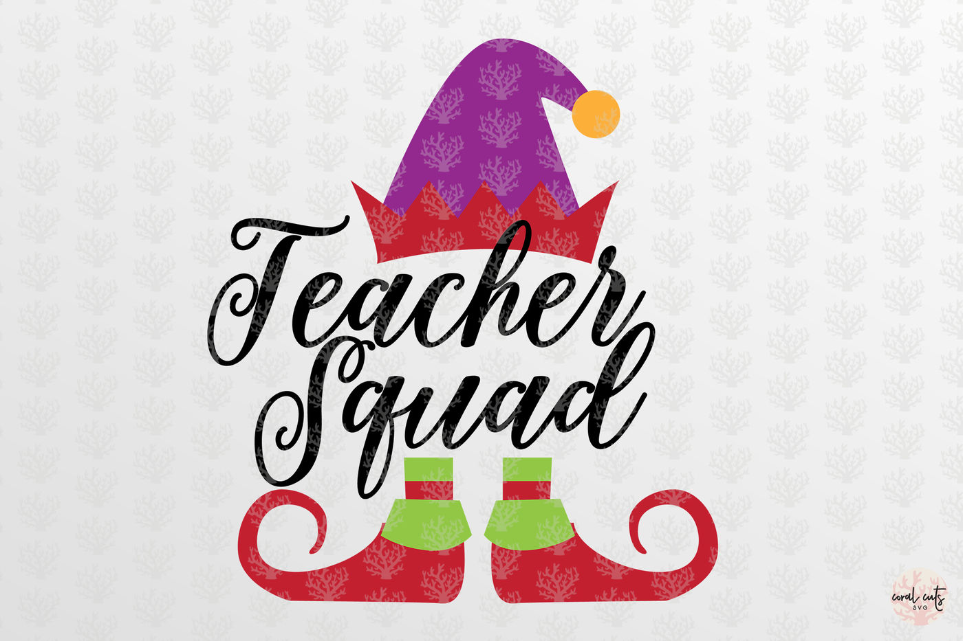 Teacher Elf Squad Christmas Svg Eps Dxf Png By Coralcuts