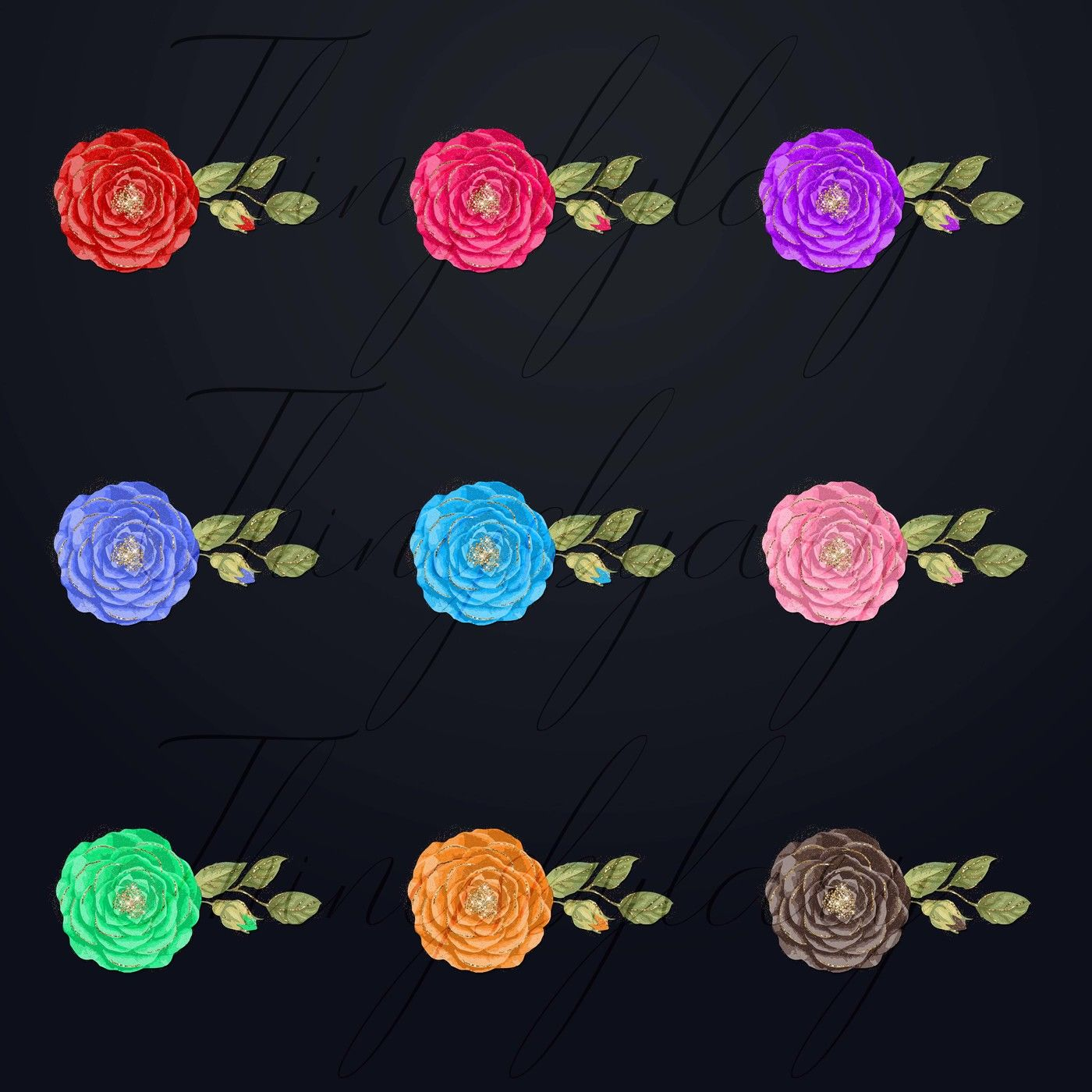 254 Rose With Gold Glitter Dust Digital Images Save The