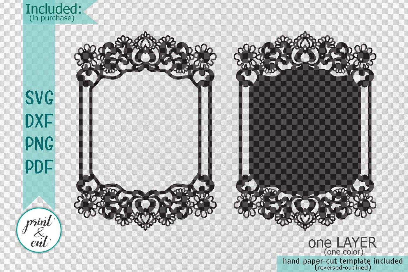 Wedding Photo Frame Laser Paper Cut Template Svg Dxf Pdf By