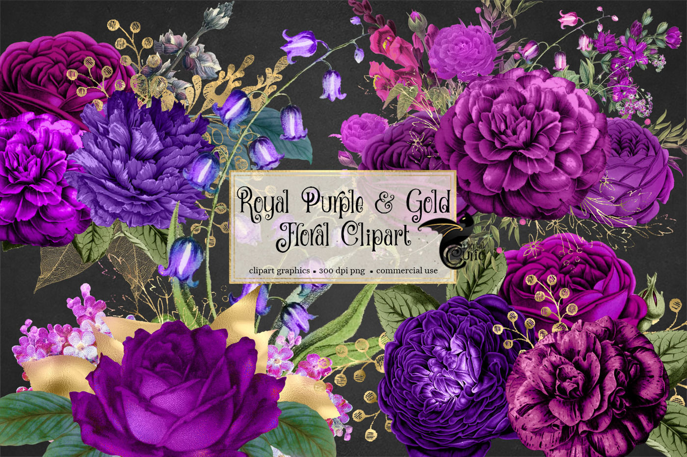 Royal Purple and Gold Floral clipart By Digital Curio