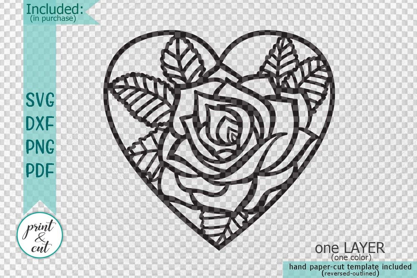 Heart Rose Floral Cutting Wedding Paper Cut Out Svg Laser