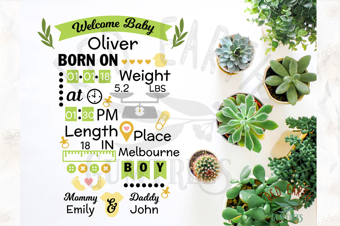 Baby Boy Announcement Chart Template Svg Dxf Png Eps Pdf By