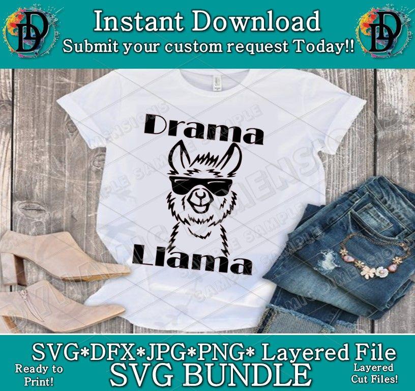6b83564ec Funny Llama SVG Drama Llama SVG Tee T-Shirt Women Ladies Men Funny Bir