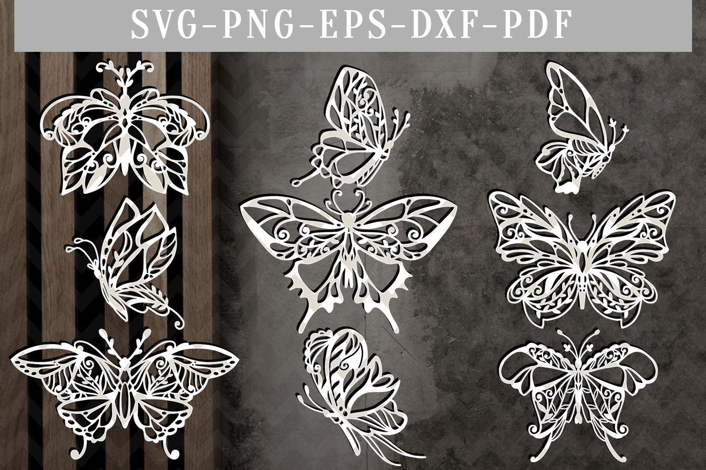 Butterfly Bundle Papercut Template Bundle Spring Clipart Svg Dxf