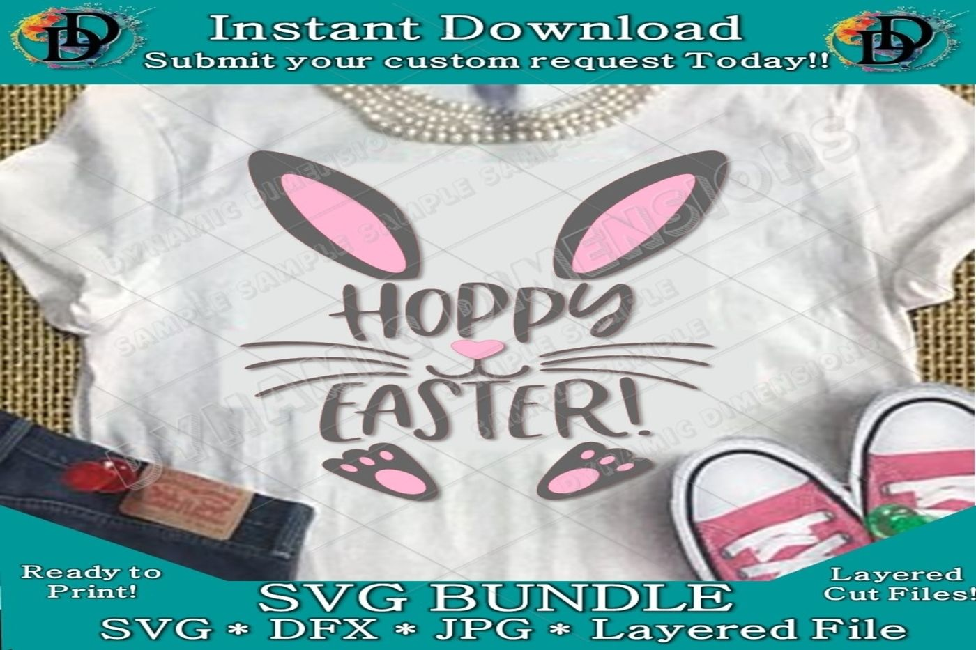 Happy Easter Svg Hoppy Easter Bunny Svg Basket Design Easter