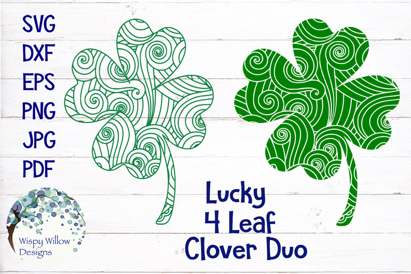 Lucky Four Leaf Clover Zentangle Svg Bundle By Wispy Willow